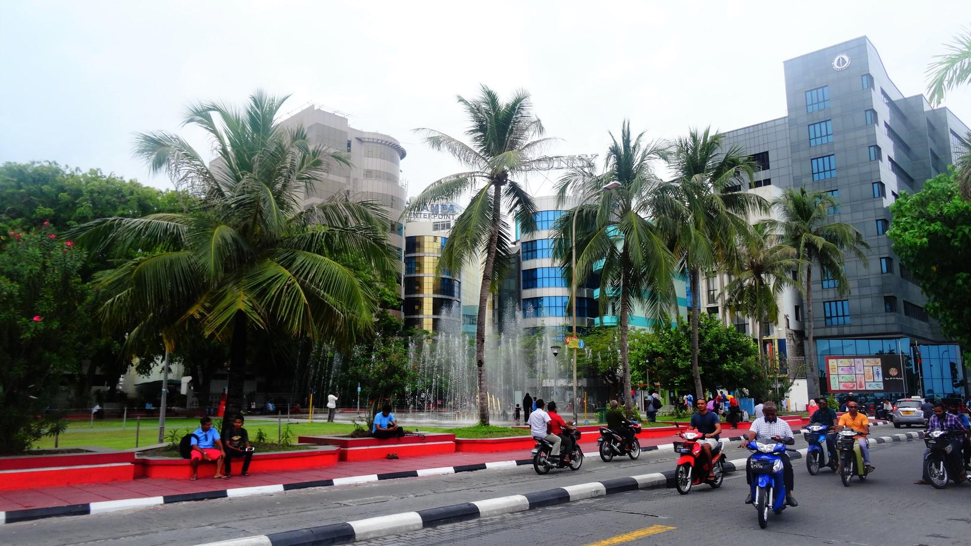 Verkeer in de hoofdstad Male van de Malediven